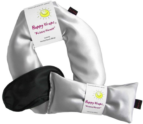 Happy Wraps® Unscented Flax Seed Neck Wrap W/Free Unscented Flax Seed Eye Pillow & Free Sleep Mask - Silver Satin