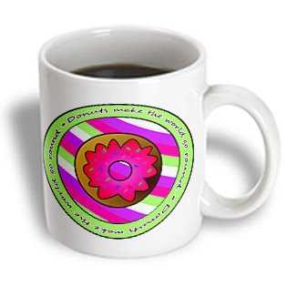 Janna Salak Designs Sweet Treats - Donuts Make The World Go Round - Pink Frosting On Purple And Green Stripes - 15Oz Mug (Mug_43185_2)