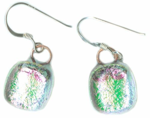 Hand Crafted Artisan Fused Art Glass Earrings - Pink/Green Dichroic Glass, Hand Wrought Copper - Sterling Silver