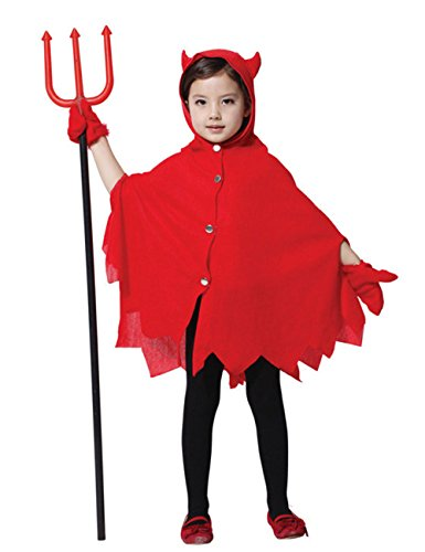 Chuangmei Children's Playful Red Devil Cape Red Halloween Costume Clothes