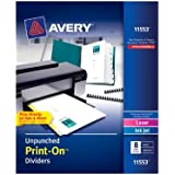 Avery Unpunched Print-On Dividers, White, 8 Tabs, 5 Sets (11553)