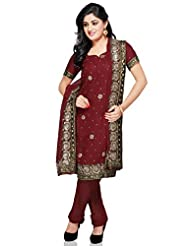 Utsav Fashion Women's Maroon Faux Shimmer Georgette Churidar Kameez-Small