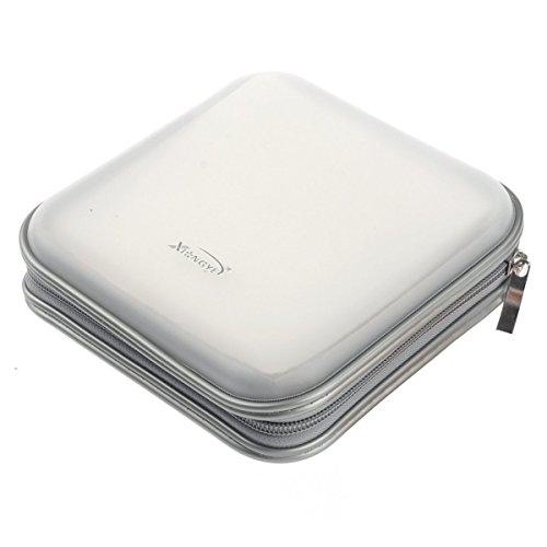 FamilyMall - Custodia porta-CD/DVD, apertura a portafoglio con cerniera, in plastica, spazio per 40 dischi, argento