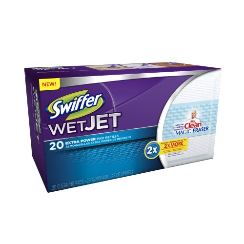 swiffer wetjet pads with the power of mr clean magic eraser 20 count health care stuffs. Black Bedroom Furniture Sets. Home Design Ideas