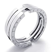 buy Bishilin Stainless Steel Fashion Men'S Rings Trans Formable Band Forever Love Silver Width 8Mm Size 13