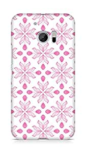 Amez designer printed 3d premium high quality back case cover for Htc One M10 (Pattern Pink floral roses)