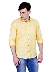 4Stripes Men's Cotton Linen Shirt (4ssh032_L_YELLOW)