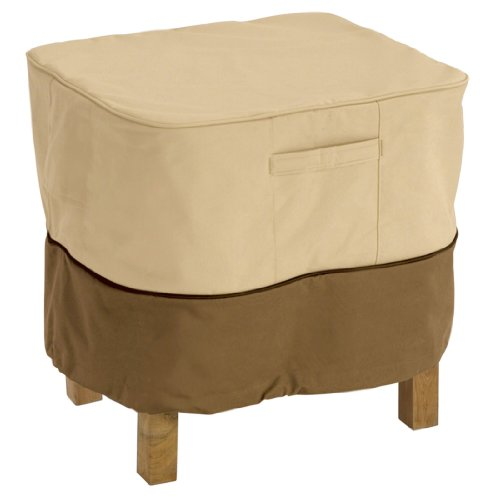 Classic Accessories Veranda Ottoman/Side Table Cover, Pebble For Square Ottomans Or Side Tables Up To 26-Inch Long, 26-Inch Wide, 17-Inch High