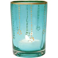 Luna Bazaar Gilded Glass Candle Holder (3.5 Inch, Turquoise Blue, Vertical Accents) For Use With Tea Lights For...