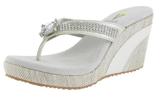 a5d971f26db2 Volatile Jaida Women s Wedge Flip Flops Platform Sandals Rhinestones White  Size 8
