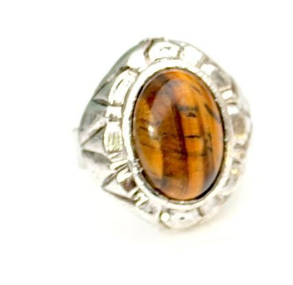 Love Hearts and Crosses Tigers Eye Semi Precious Small Oval Stone Ring