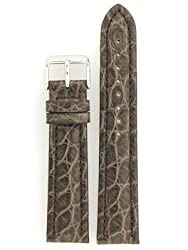Watchband Genuine Crocodile 22mm Charcoal Grey