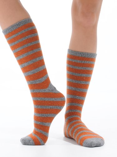 Cashmere Blend Puffy Striped Crew Socks 6 Colors Available Womens Soft and Warm Perfect Gift Item Color:: Orange