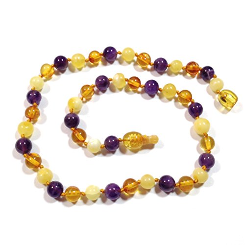 "Hazelaid (TM) 14"" Pop-Clasp Baltic Amber & Gemstone: Honey & Butter & Amethyst - 1"
