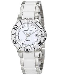Pierre Petit Women's P-808B Serie Colmar Stainless-Steel and White Ceramic Bracelet Date Watch