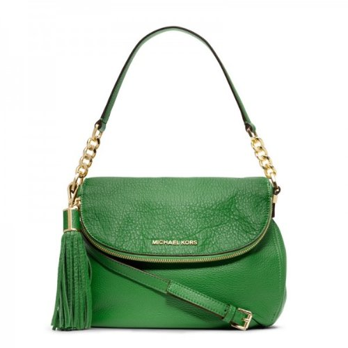 Michael Kors Bedford Medium Tassle Convertible Shoulder Bag In Palm Green