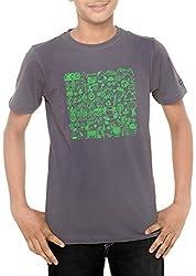Menthol Boys Round Neck Organic Cotton Tshirt (5-6 Years, Steelgrey)