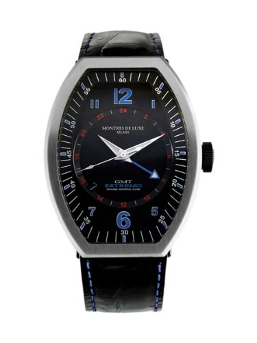 Montres De Luxe Men's EXN 9601 Estremo Titanium and Black Aluminum Luminous Red Top Stitched Leather Date Watch
