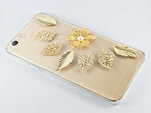 Kiintymys Handcrafted Designer Bling 3D Golden Petals Acrylic Case for iPhone 6/6S