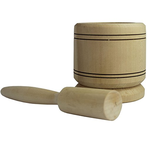 Obique Country Kitchen Collection Handmade Wooden Garlic Mortar & Pestle