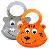 Bibimals Silicone Baby Bibs - Cute Fun Animal Faces Waterproof & Easily Washable