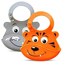 Bibimals Baby Bibs (Safari Pack) Button Latch Better for Long Hair - Funny Cool Cute 2 Pack of Bibs with Food Catcher Pocket Made From Waterproof Washable Silicone Plastic, Best for Use with Girl or Boy Infants and Babies - Your Baby Will Love These Silly