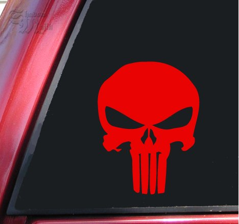 Punisher 2K Skull Vinyl Decal Sticker - Red (Punisher Truck Window Decal compare prices)