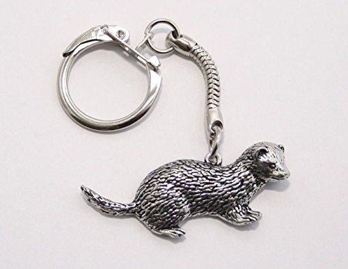 Solid Pewter Ferret Keychain