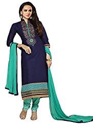 Janasya Women's Navy Blue Embroidered Cotton Dress