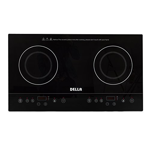 Della Dual Induction Cooktop Counter Top Electric Burner Stove Portable Countertop, 1800W (Aroma Dual Burner Hot Plate compare prices)
