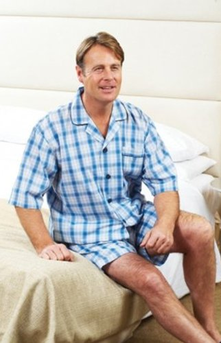 New Design For SpringSummer 2012 Mens CHAMPION Short Pyjamas In Sky Check & Dark Blue Check
