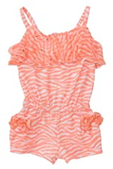 Kate Mack Girl's 7-16 Tahitian Sunset Romper in Coral