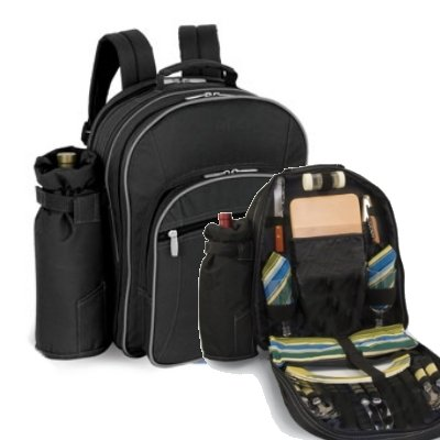 Capri Insulated Picnic Backpack w/ Wine Duffel & Deluxe Service For 2 (Black/Silver)