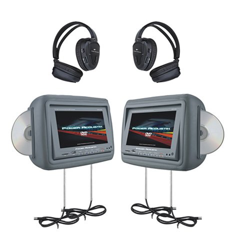 Power Acoustik HDVD-9GR 8.8-Inch Pre-Loaded Universal Headrest Monitors with Twin DVD Combo and Headphones (Gray)