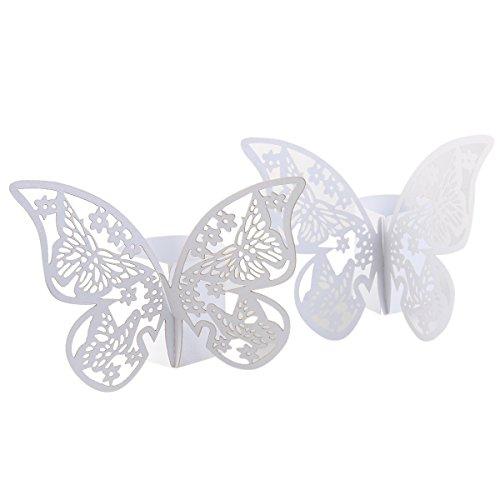 ROSENICE 50pz Anelli portatovaglioli per la decorazione di banchetti - farfalla (bianco)