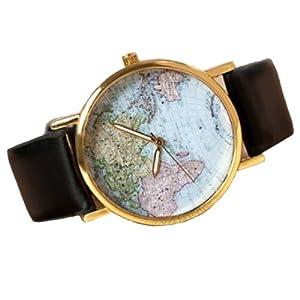 Retro Weltkarte Uhr Lederausstattung Leichtmetall Damen Analoge Quarz Armbanduhr Schwarz