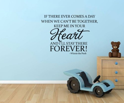 """Winnie The Pooh Wall Decorative Quote """"...Keep Me In Your Heart Forever"""" Boys Kid'S Room Sign Vinyl Lettering Decal Nursery Wall Saying Mural Art Nursery Quote (Black) front-568936"""