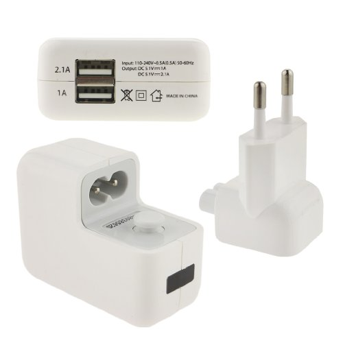 Ancerson White Travel Home Universal Charger Power Adapter Plug (Fits Only In Europe, Except Uk) + A Dual Usb Ports Usb Output For Most Usb Enabled Devices: Mobile Phones, Tablet Pcs, Mp3/4/5 Players, Digital Cameras, Gps, Pdas And Gaming Devices Such As front-790707