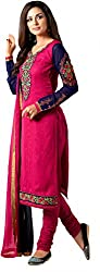 Shenoa Women's Faux Georgette Unstitched Dress Material(9508, Pink)