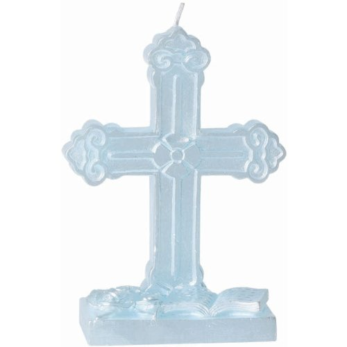 Holy Communion / Christening Cake Decoration Cross Candle - Blue