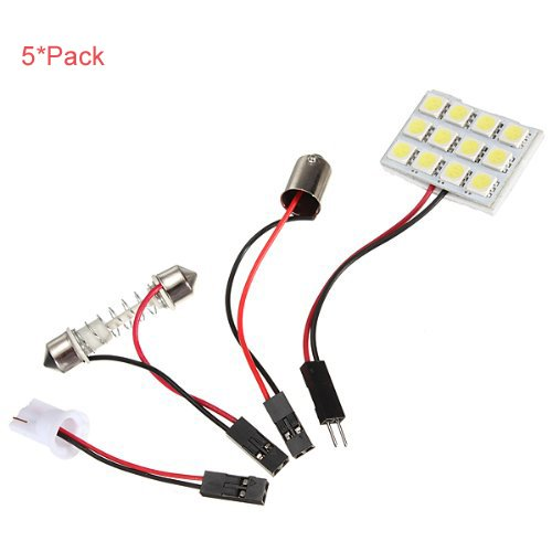 Xiqi White Car Interior Smd Led Light Lamp Panel T10 Dome Bulb Ba9S Adapter 12V (5, 12*Smd)