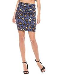 Shuffle Women's Skinny Skirt (1021501301_Blue_X-Large)