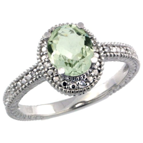 Revoni Sterling Silver Vintage Style Oval Green Amethyst Stone Ring w/ 0.04 Carat Brilliant Cut Diamonds  &  0.80 Carat (7x5mm) Oval Cut Gemstone (Available in Sizes J to T), Size J