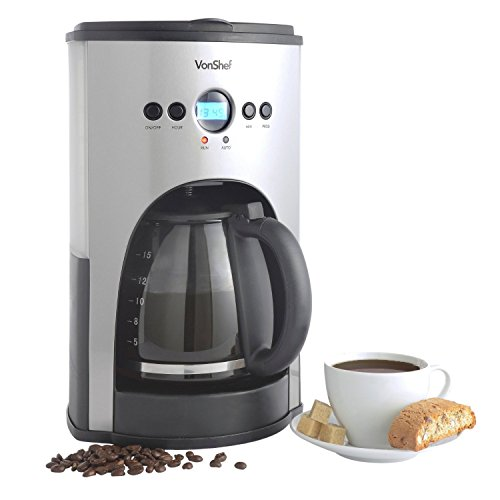 VonShef High Quality 15-Cup Fully Programmable Digital Filter Coffee Maker with Permanent Reusable Filter