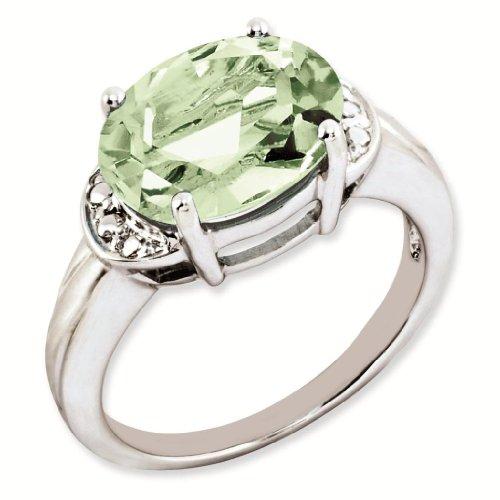 Sterling Silver Genuine Green Quartz Ring - Brilliant Colored Gemstones - Jewelry