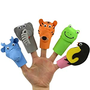Eva 10 Zoo Animal Story Telling Cartoon Finger Puppet Set - BebeHogar.com
