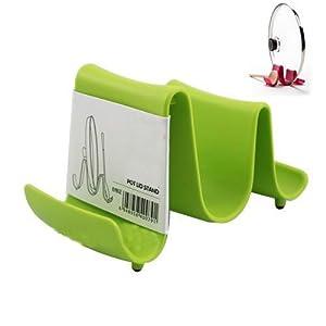 eFuture(TM) Kitchen Plastic Waveform Spoon Pots Pans Cookware Storage Holder Rack -Random Color With Keyring
