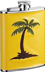 Visol VF1219 Caribbean Yellow Leather and Stainless Steel Liquor Flask, 6-Ounce
