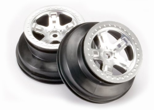 Traxxas 5872 2.2/3.0 Wheels Satin Chrome on Black, Rear Slash, 2-Piece
