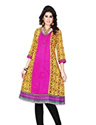 Aria Party Wear 3/4 Sleeve Printed Multicolor Cotton Women's Kurti